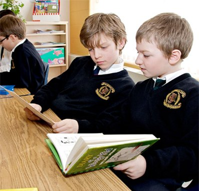 Elementary students reading