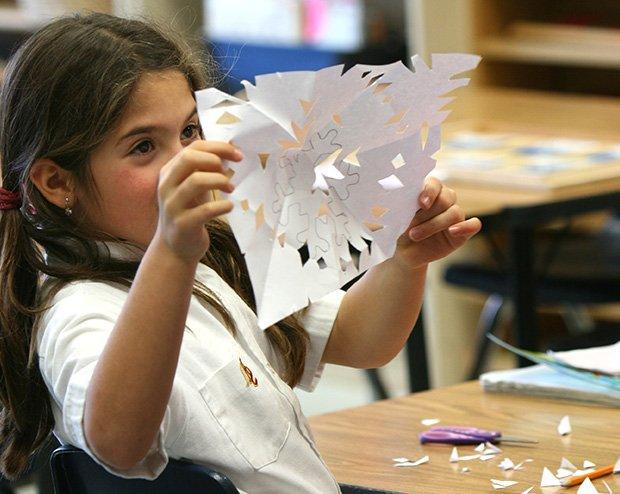 AMS student creating art work