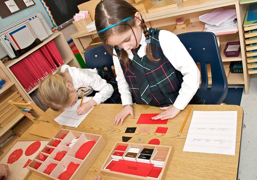 students doing school work